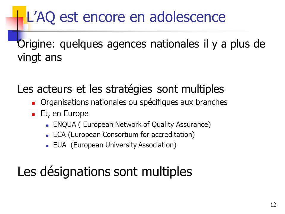 12 LAQ est encore en adolescence Origine: quelques agences nationales il y a plus de vingt ans Les acteurs et les stratégies sont multiples Organisati