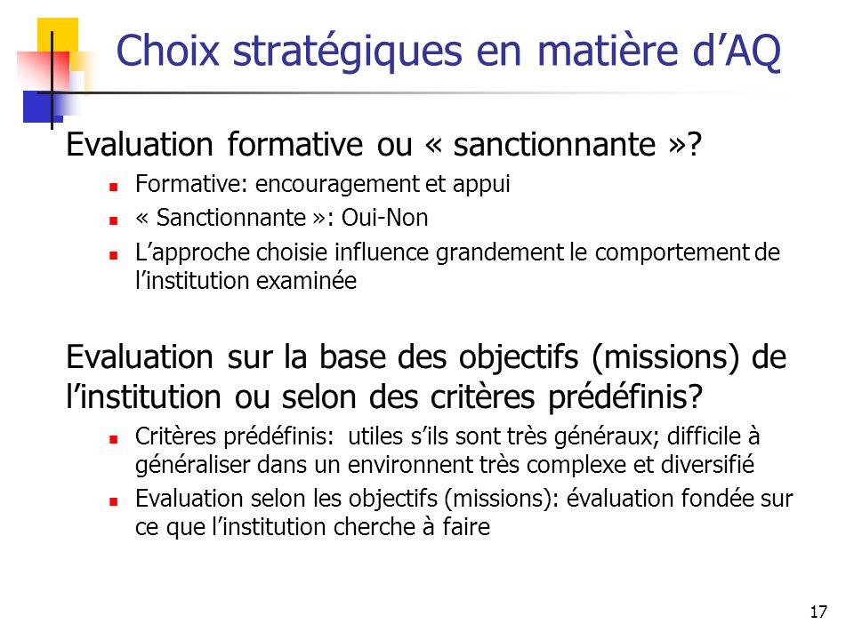 17 Choix stratégiques en matière dAQ Evaluation formative ou « sanctionnante »? Formative: encouragement et appui « Sanctionnante »: Oui-Non Lapproche