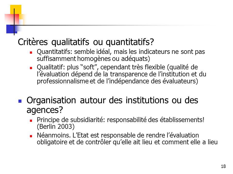 18 Critères qualitatifs ou quantitatifs? Quantitatifs: semble idéal, mais les indicateurs ne sont pas suffisamment homogènes ou adéquats) Qualitatif: