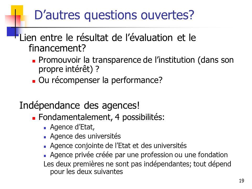 19 Dautres questions ouvertes? Lien entre le résultat de lévaluation et le financement? Promouvoir la transparence de linstitution (dans son propre in