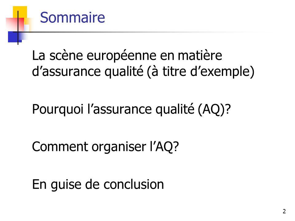 2 Sommaire La scène européenne en matière dassurance qualité (à titre dexemple) Pourquoi lassurance qualité (AQ)? Comment organiser lAQ? En guise de c