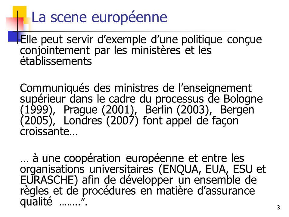 3 La scene européenne Elle peut servir dexemple dune politique conçue conjointement par les ministères et les établissements Communiqués des ministres de lenseignement supérieur dans le cadre du processus de Bologne (1999), Prague (2001), Berlin (2003), Bergen (2005), Londres (2007) font appel de façon croissante… … à une coopération européenne et entre les organisations universitaires (ENQUA, EUA, ESU et EURASCHE) afin de développer un ensemble de règles et de procédures en matière dassurance qualité ……...