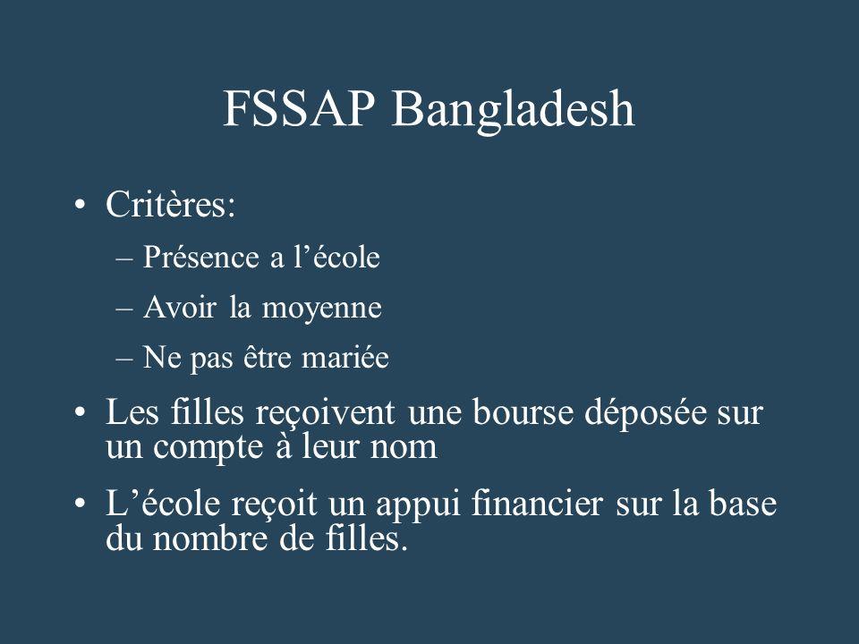 FSSAP Bangladesh Critères: –Présence a lécole –Avoir la moyenne –Ne pas être mariée Les filles reçoivent une bourse déposée sur un compte à leur nom Lécole reçoit un appui financier sur la base du nombre de filles.