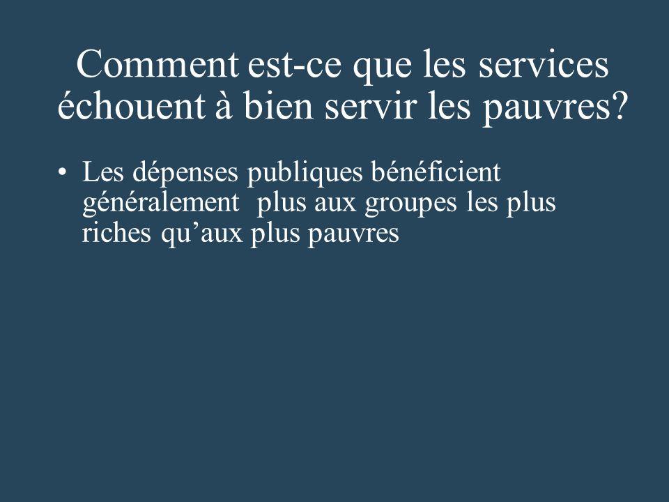 Comment est-ce que les services échouent à bien servir les pauvres.