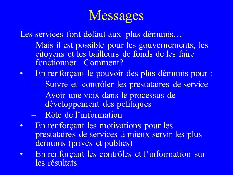 Messages Les services font défaut aux plus démunis… Mais il est possible pour les gouvernements, les citoyens et les bailleurs de fonds de les faire fonctionner.