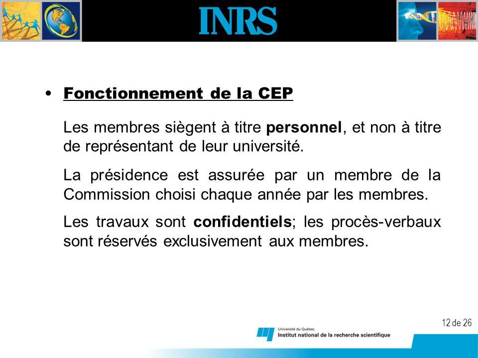 12 de 26 Fonctionnement de la CEP Les membres siègent à titre personnel, et non à titre de représentant de leur université.