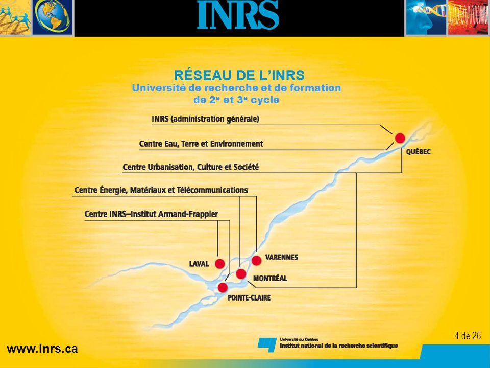 4 Université de recherche et de formation de 2 e et 3 e cycle www.inrs.ca 4 de 26