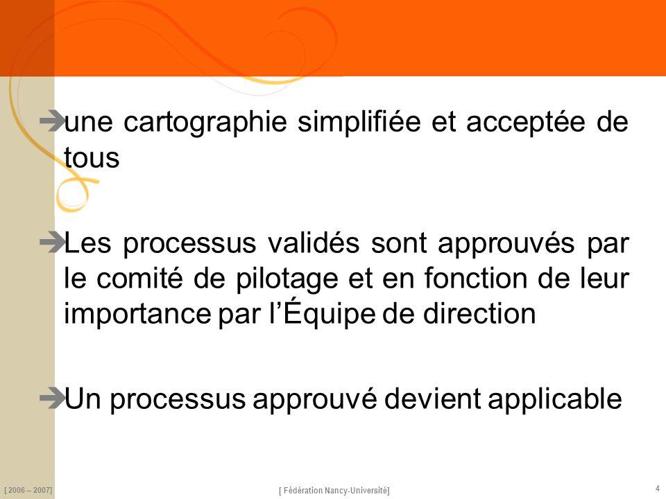 science [ Fédération Nancy-Université] [ 2006 – 2007] 4 une cartographie simplifiée et acceptée de tous Les processus validés sont approuvés par le co