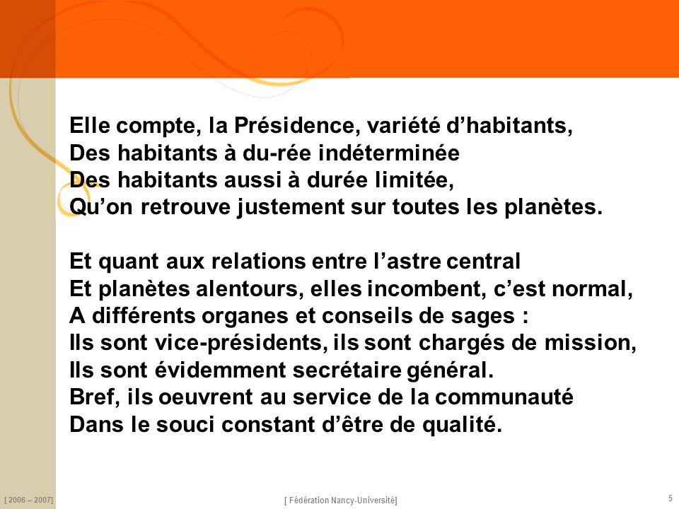 science [ Fédération Nancy-Université] [ 2006 – 2007] 5 Elle compte, la Présidence, variété dhabitants, Des habitants à du-rée indéterminée Des habita