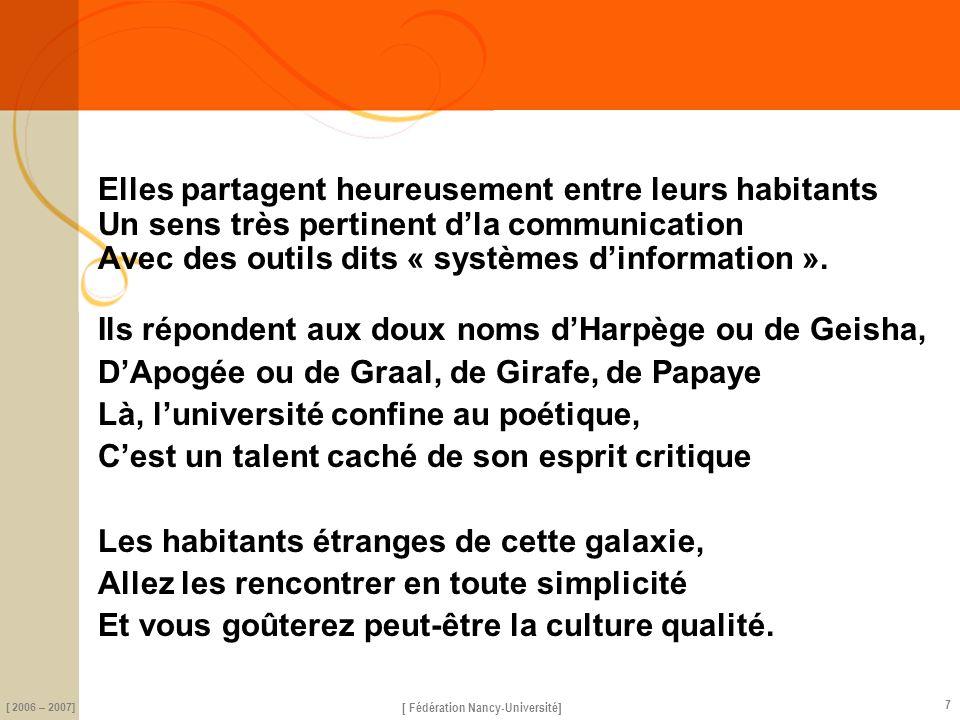 science [ Fédération Nancy-Université] [ 2006 – 2007] 7 Elles partagent heureusement entre leurs habitants Un sens très pertinent dla communication Avec des outils dits « systèmes dinformation ».