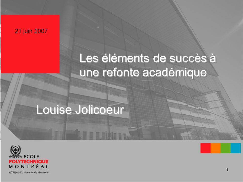 1 Les éléments de succès à une refonte académique Louise Jolicoeur 21 juin 2007
