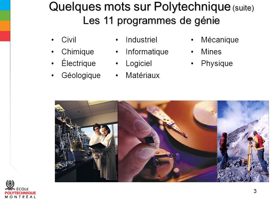 3 Quelques mots sur Polytechnique (suite) Les 11 programmes de génie Civil Chimique Électrique Géologique Industriel Informatique Logiciel Matériaux Mécanique Mines Physique