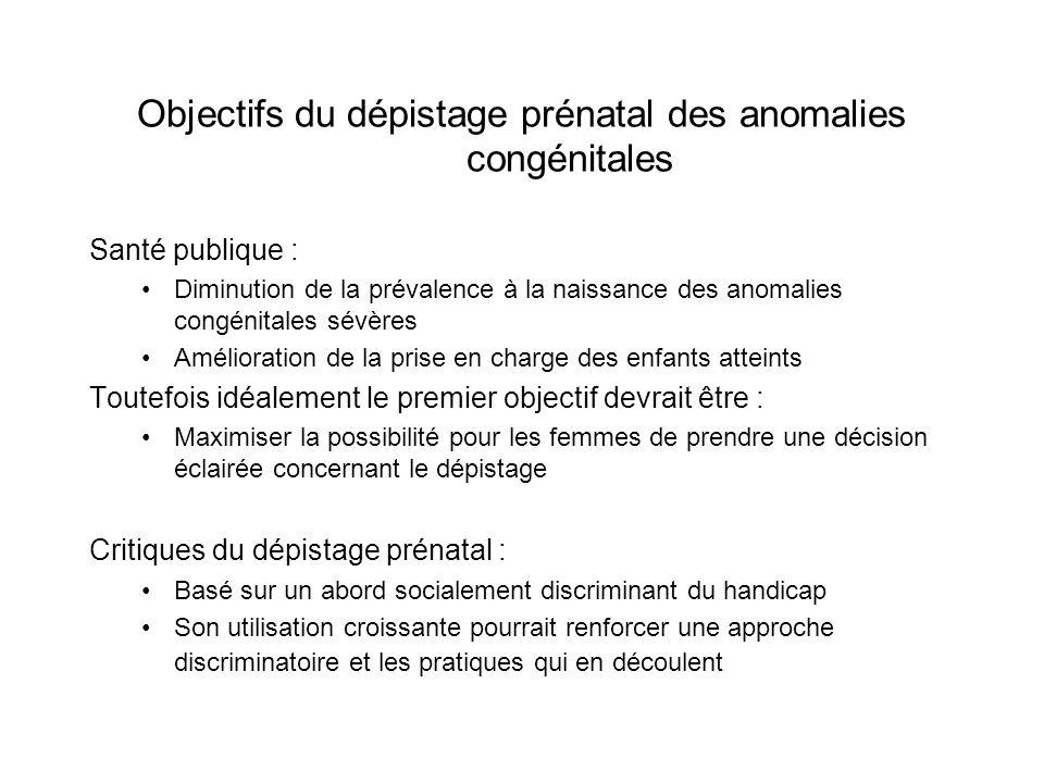 Objectifs du dépistage prénatal des anomalies congénitales Santé publique : Diminution de la prévalence à la naissance des anomalies congénitales sévè