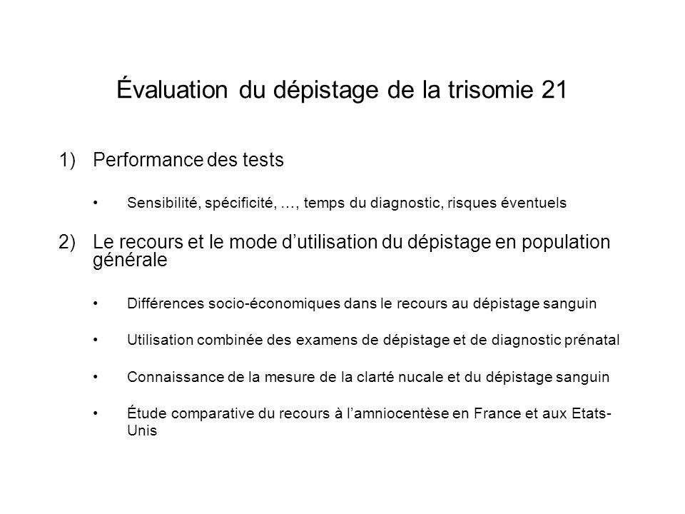 Évaluation du dépistage de la trisomie 21 1)Performance des tests Sensibilité, spécificité, …, temps du diagnostic, risques éventuels 2)Le recours et