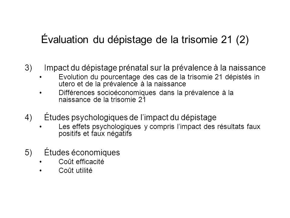 Évaluation du dépistage de la trisomie 21 (2) 3)Impact du dépistage prénatal sur la prévalence à la naissance Evolution du pourcentage des cas de la t