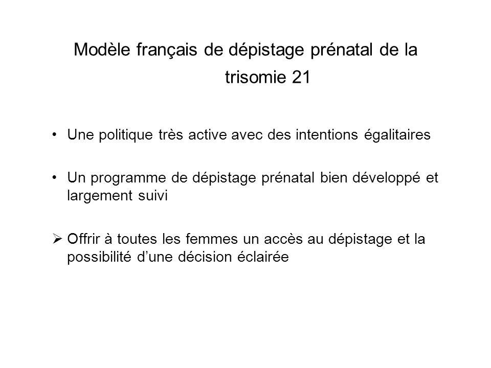 Modèle français de dépistage prénatal de la trisomie 21 Une politique très active avec des intentions égalitaires Un programme de dépistage prénatal b