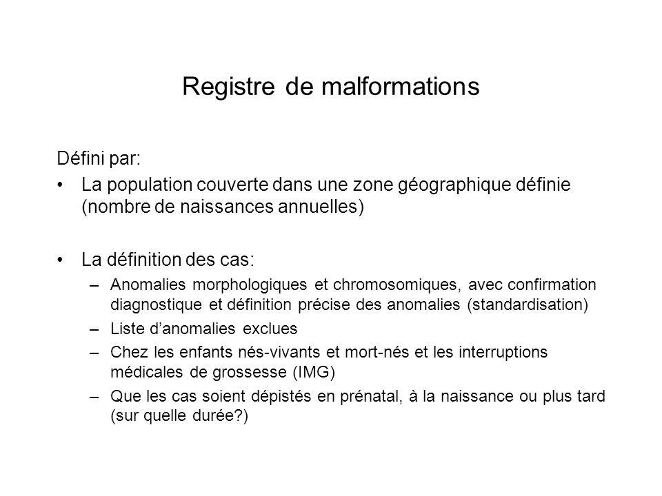 Registre de malformations (2) Les modalités de recueil des données : –Sources multiples ---> exhaustivité –Source principale = services de gynéco-obstétrique + autres sources (néonatologie, chirurgie pédiatrique, SMUR pédiatriques, foetopathologie, cytogénétique, DDASS…) –Recueil passif ou actif –Contrôle de la qualité des données (vérifications logiques) –Confidentialité des données
