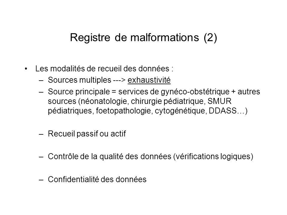 Registre de malformations (2) Les modalités de recueil des données : –Sources multiples ---> exhaustivité –Source principale = services de gynéco-obst