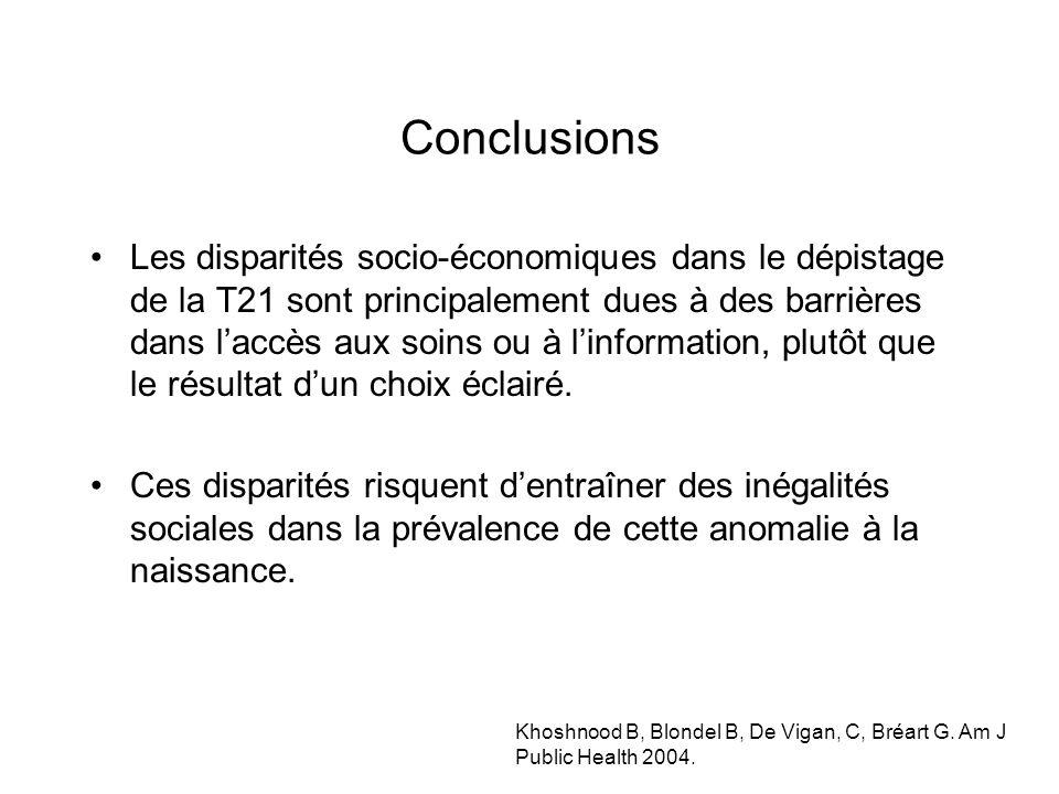 Conclusions Les disparités socio-économiques dans le dépistage de la T21 sont principalement dues à des barrières dans laccès aux soins ou à linformation, plutôt que le résultat dun choix éclairé.