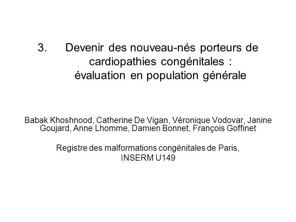 3. Devenir des nouveau-nés porteurs de cardiopathies congénitales : évaluation en population générale Babak Khoshnood, Catherine De Vigan, Véronique V