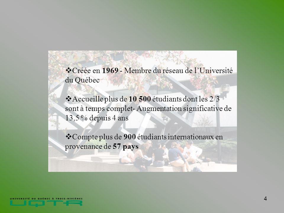 4 Créée en 1969 - Membre du réseau de lUniversité du Québec Accueille plus de 10 500 étudiants dont les 2/3 sont à temps complet- Augmentation significative de 13,5 % depuis 4 ans Compte plus de 900 étudiants internationaux en provenance de 57 pays