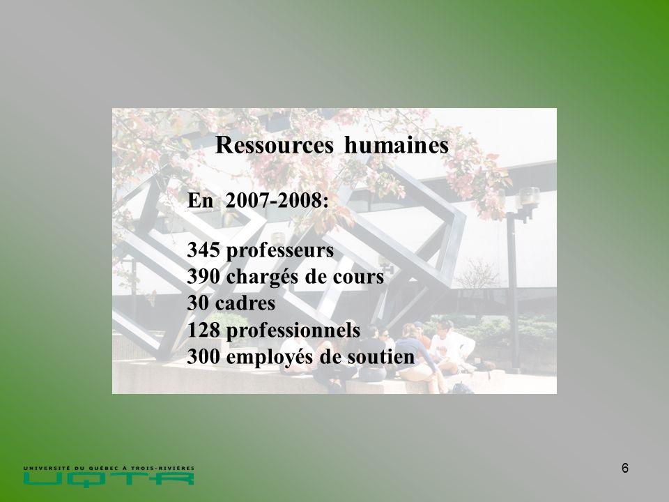 6 Ressources humaines En 2007-2008: 345 professeurs 390 chargés de cours 30 cadres 128 professionnels 300 employés de soutien