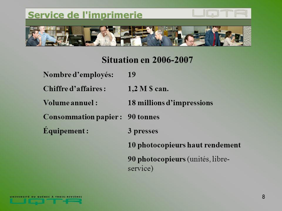 8 Situation en 2006-2007 Nombre demployés:19 Chiffre daffaires :1,2 M $ can.
