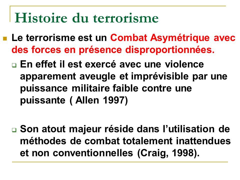 Histoire du terrorisme Le terrorisme est un Combat Asymétrique avec des forces en présence disproportionnées.