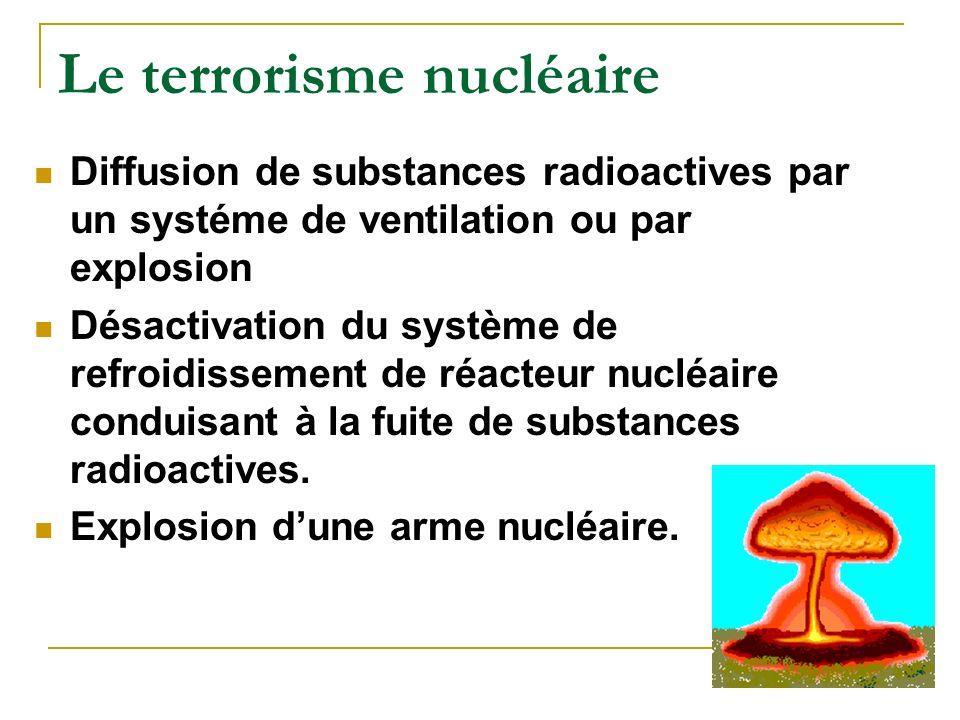 Le terrorisme nucléaire Diffusion de substances radioactives par un systéme de ventilation ou par explosion Désactivation du système de refroidissement de réacteur nucléaire conduisant à la fuite de substances radioactives.