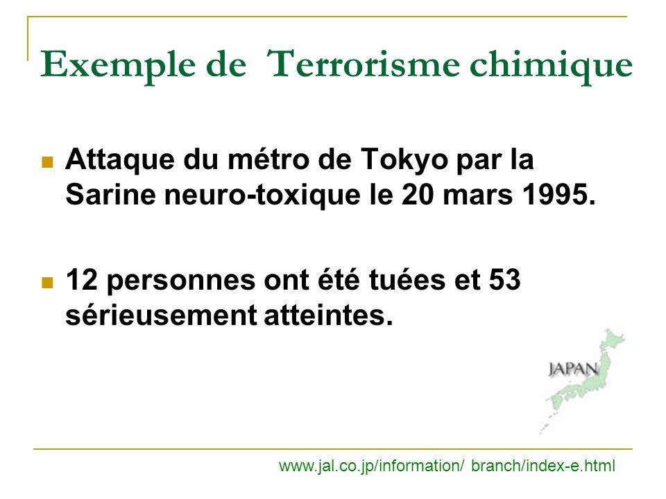 Exemple de Terrorisme chimique Attaque du métro de Tokyo par la Sarine neuro-toxique le 20 mars 1995.