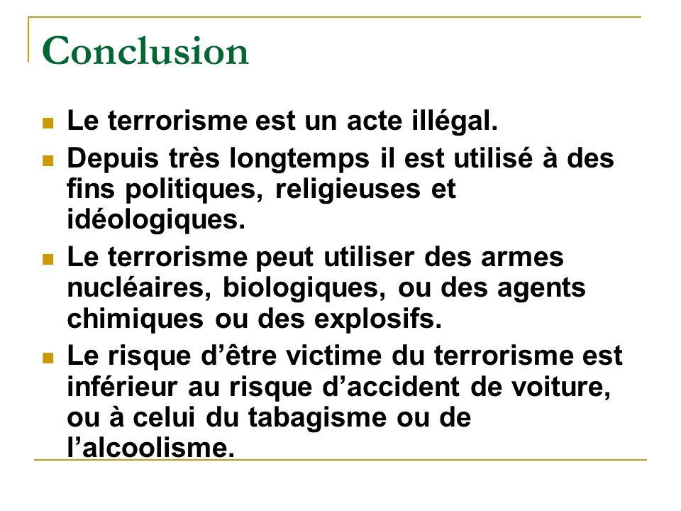 Conclusion Le terrorisme est un acte illégal.