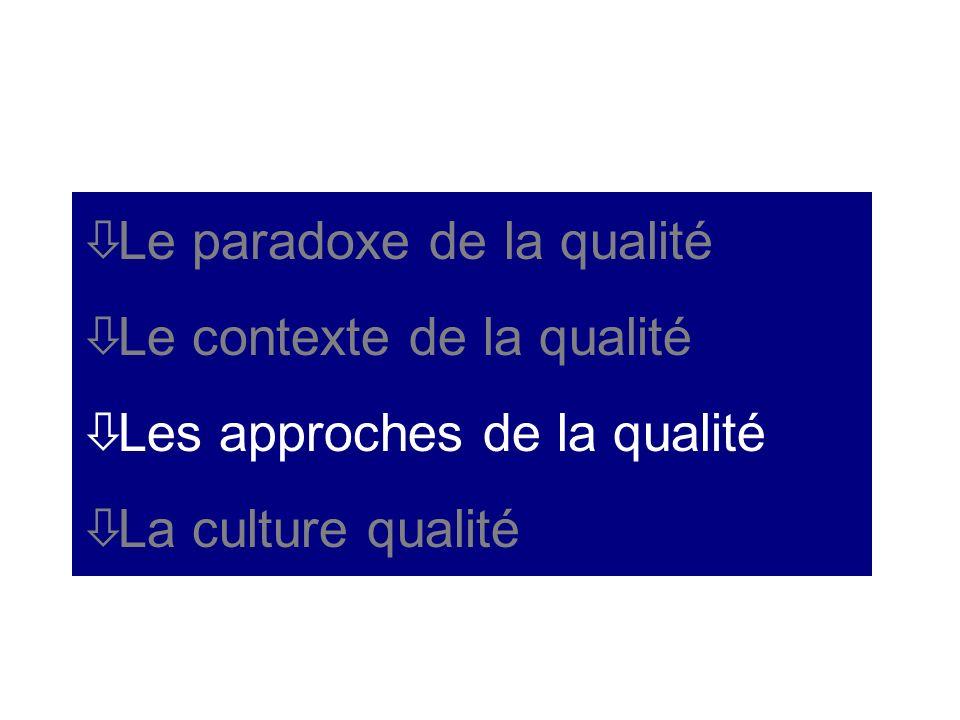 òLe paradoxe de la qualité òLe contexte de la qualité òLes approches de la qualité òLa culture qualité