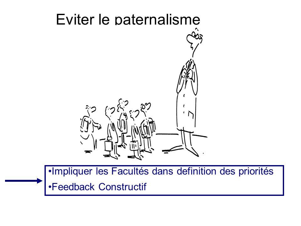 Eviter le paternalisme Impliquer les Facultés dans definition des priorités Feedback Constructif