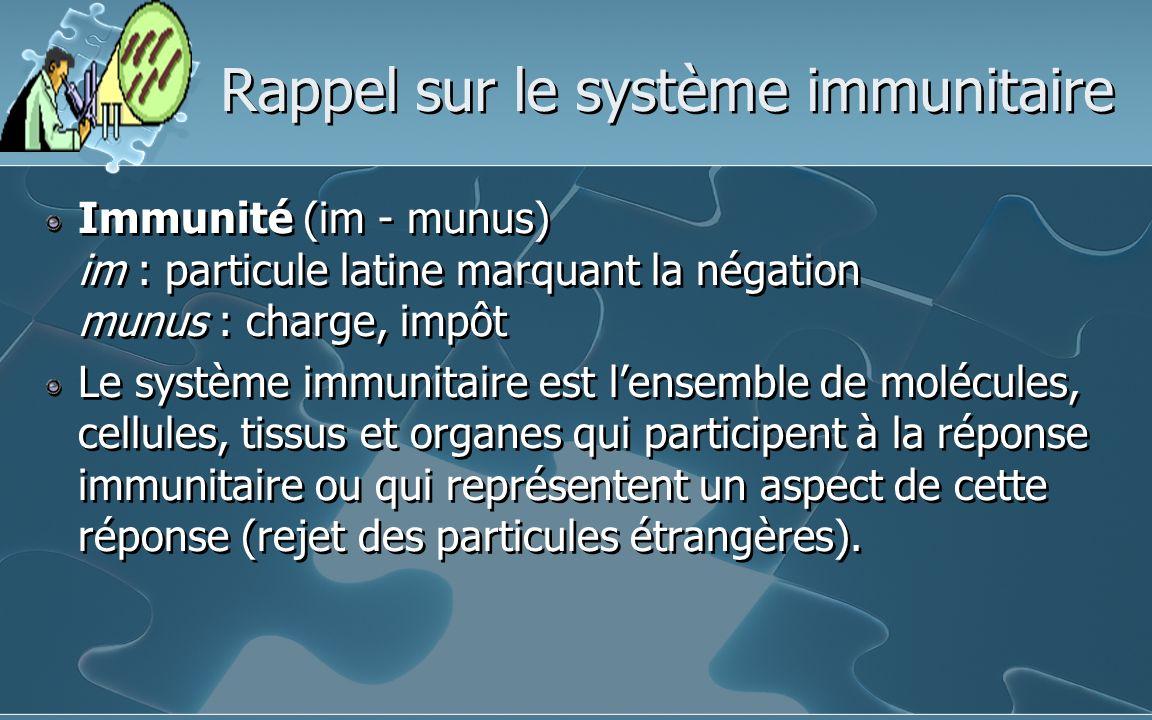 Rappel sur le système immunitaire Immunité (im - munus) im : particule latine marquant la négation munus : charge, impôt Le système immunitaire est le