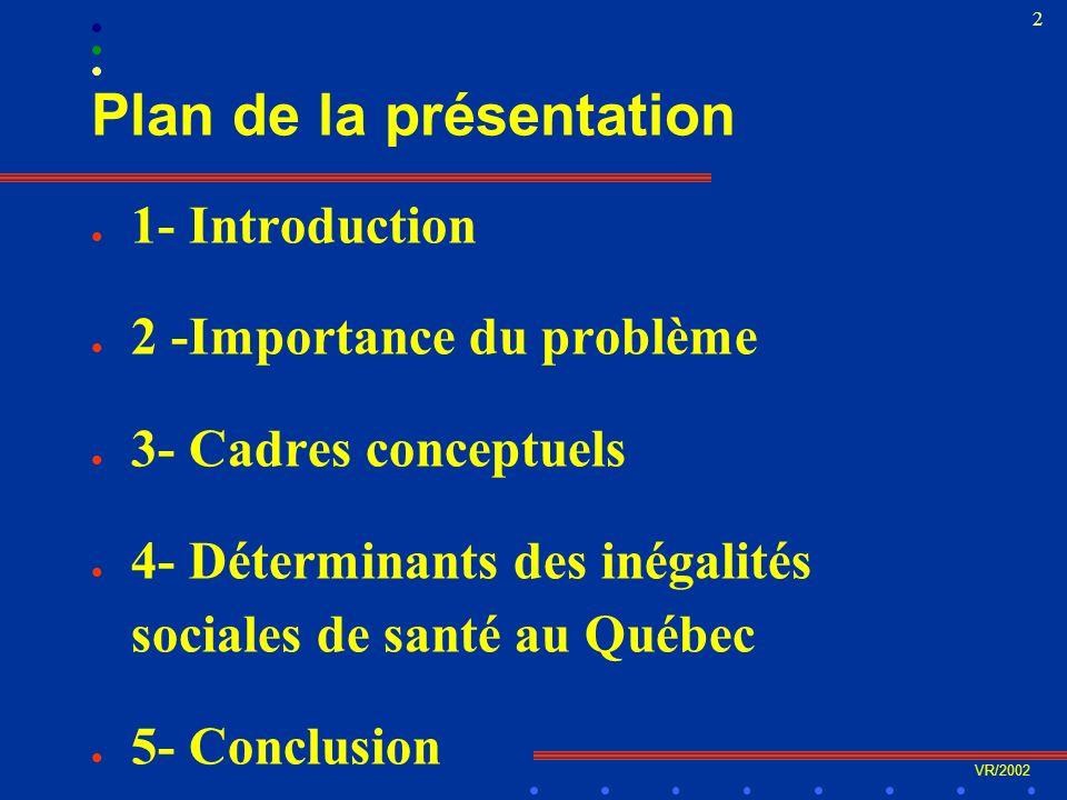VR/2002 33 4- Les déterminants québécois C- Réseau social de lindividu et de la communauté l Le cas de lalimentation =>