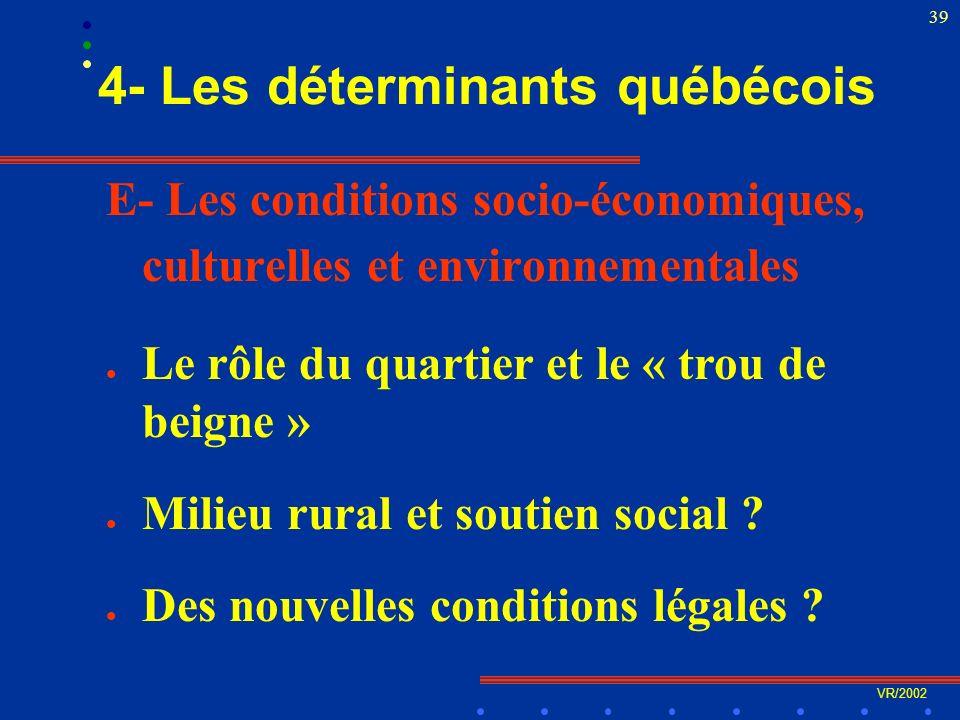 VR/2002 39 4- Les déterminants québécois E- Les conditions socio-économiques, culturelles et environnementales l Le rôle du quartier et le « trou de beigne » l Milieu rural et soutien social .