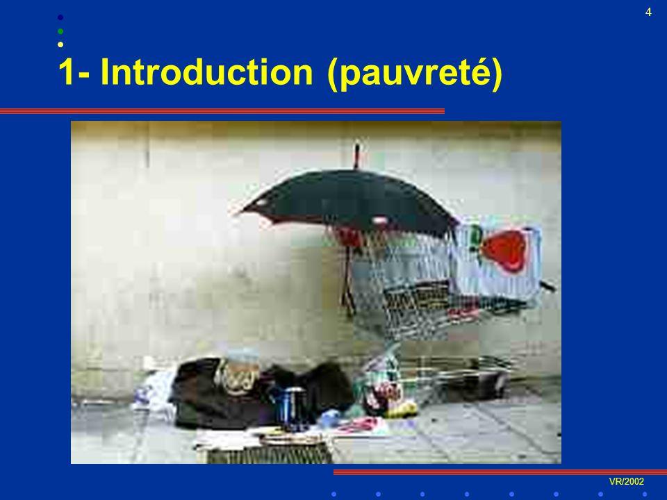 VR/2002 5 1- Introduction (inégalités) 7,05 6,78 5,76 5,12 7,76 0 1 2 3 4 5 6 7 8 9 Q1 (Lowest) Q2Q3 (Middle)Q4Q5 (Highest) Neighbourhoood Classified by Mean Income Diabetes Prevalence Rate Prévalence du diabète en Ontario en fonction du quintile de richesse des quartiers, 1999 (Raphaël)