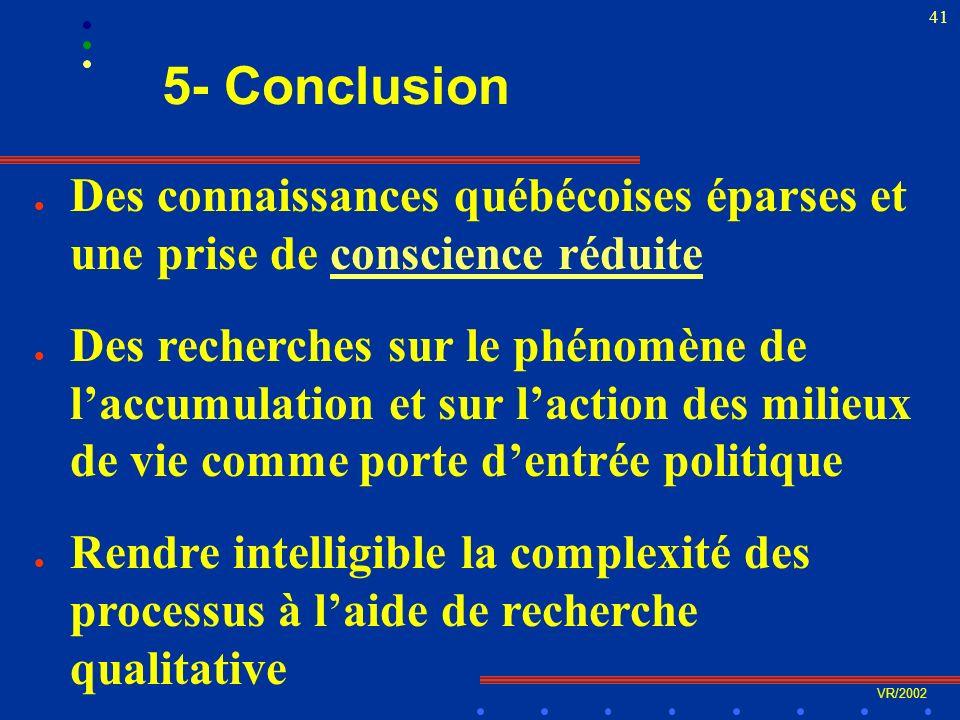 VR/2002 41 5- Conclusion l Des connaissances québécoises éparses et une prise de conscience réduiteconscience réduite l Des recherches sur le phénomène de laccumulation et sur laction des milieux de vie comme porte dentrée politique l Rendre intelligible la complexité des processus à laide de recherche qualitative