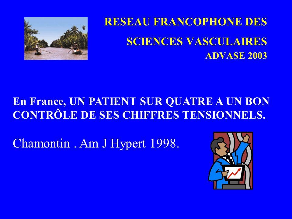 RESEAU FRANCOPHONE DES SCIENCES VASCULAIRES ADVASE 2003 En France, UN PATIENT SUR QUATRE A UN BON CONTRÔLE DE SES CHIFFRES TENSIONNELS. Chamontin. Am