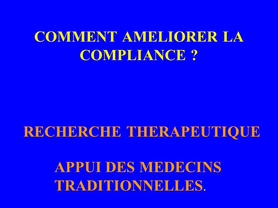 COMMENT AMELIORER LA COMPLIANCE ? RECHERCHE THERAPEUTIQUE APPUI DES MEDECINS TRADITIONNELLES.