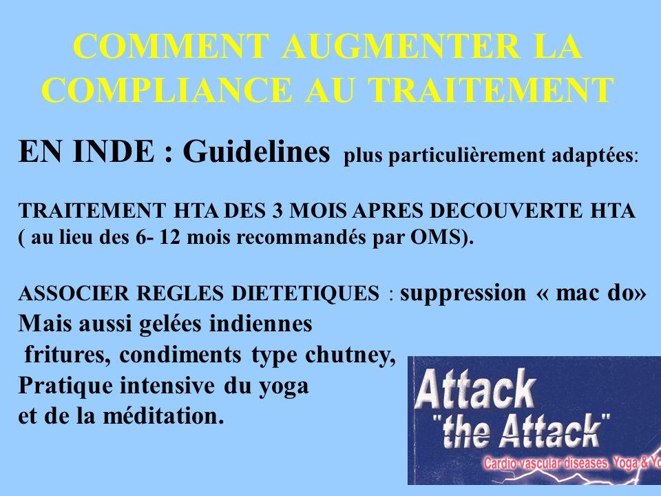 COMMENT AUGMENTER LA COMPLIANCE AU TRAITEMENT EN INDE : Guidelines plus particulièrement adaptées: TRAITEMENT HTA DES 3 MOIS APRES DECOUVERTE HTA ( au