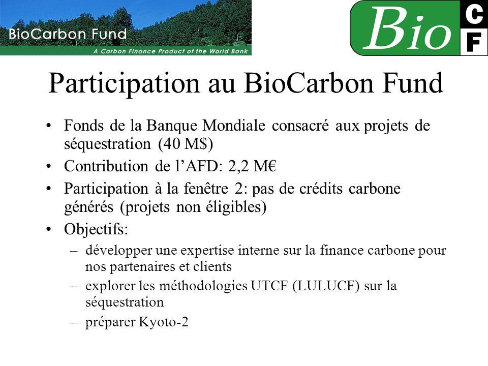 Participation au BioCarbon Fund Fonds de la Banque Mondiale consacré aux projets de séquestration (40 M$) Contribution de lAFD: 2,2 M Participation à la fenêtre 2: pas de crédits carbone générés (projets non éligibles) Objectifs: –développer une expertise interne sur la finance carbone pour nos partenaires et clients –explorer les méthodologies UTCF (LULUCF) sur la séquestration –préparer Kyoto-2