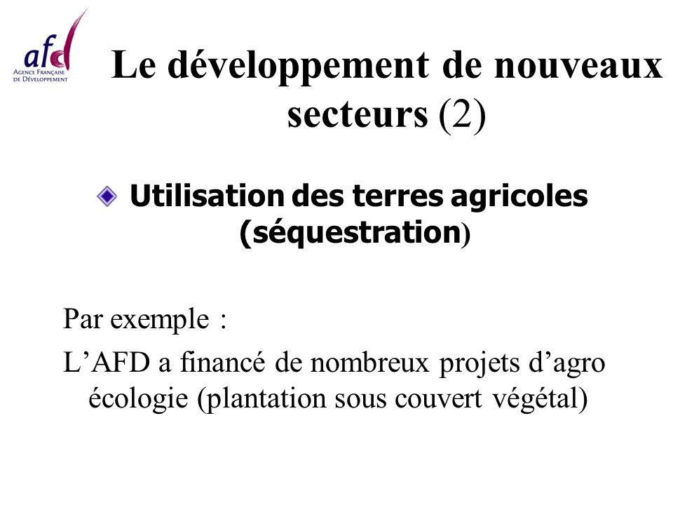 Le développement de nouveaux secteurs (2) Utilisation des terres agricoles (séquestration ) Par exemple : LAFD a financé de nombreux projets dagro écologie (plantation sous couvert végétal)