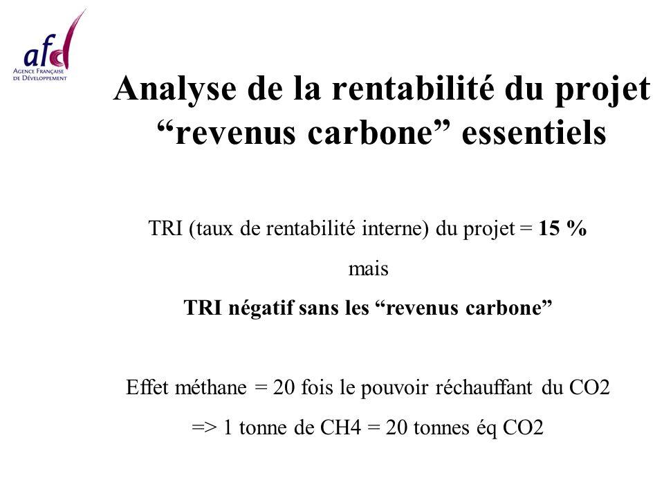 Analyse de la rentabilité du projet revenus carbone essentiels TRI (taux de rentabilité interne) du projet = 15 % mais TRI négatif sans les revenus carbone Effet méthane = 20 fois le pouvoir réchauffant du CO2 => 1 tonne de CH4 = 20 tonnes éq CO2