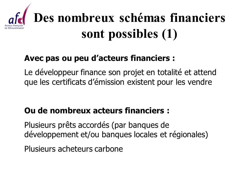 Des nombreux schémas financiers sont possibles (1) Avec pas ou peu dacteurs financiers : Le développeur finance son projet en totalité et attend que les certificats démission existent pour les vendre Ou de nombreux acteurs financiers : Plusieurs prêts accordés (par banques de développement et/ou banques locales et régionales) Plusieurs acheteurs carbone
