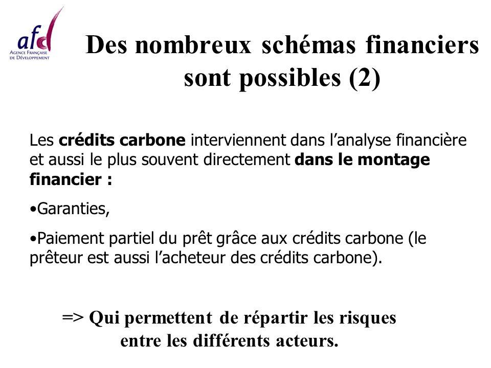 Des nombreux schémas financiers sont possibles (2) Les crédits carbone interviennent dans lanalyse financière et aussi le plus souvent directement dans le montage financier : Garanties, Paiement partiel du prêt grâce aux crédits carbone (le prêteur est aussi lacheteur des crédits carbone).