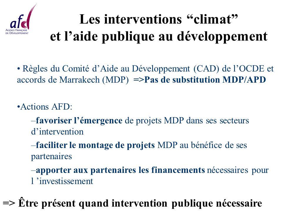 Les interventions climat et laide publique au développement Règles du Comité dAide au Développement (CAD) de lOCDE et accords de Marrakech (MDP) =>Pas de substitution MDP/APD Actions AFD: –favoriser lémergence de projets MDP dans ses secteurs dintervention –faciliter le montage de projets MDP au bénéfice de ses partenaires –apporter aux partenaires les financements nécessaires pour l investissement => Être présent quand intervention publique nécessaire