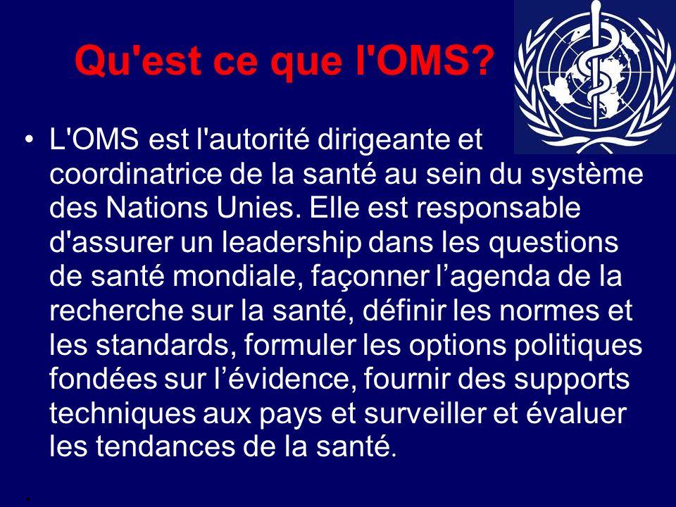 Qu'est ce que l'OMS? L'OMS est l'autorité dirigeante et coordinatrice de la santé au sein du système des Nations Unies. Elle est responsable d'assurer
