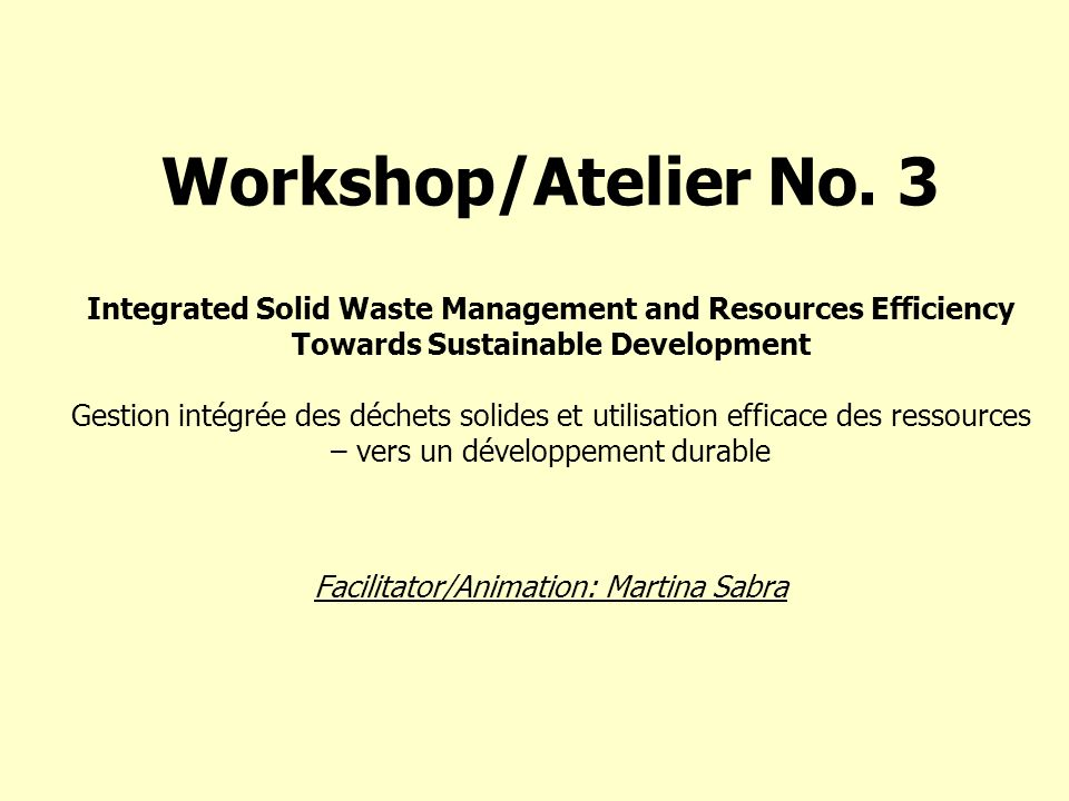 Workshop/Atelier No.