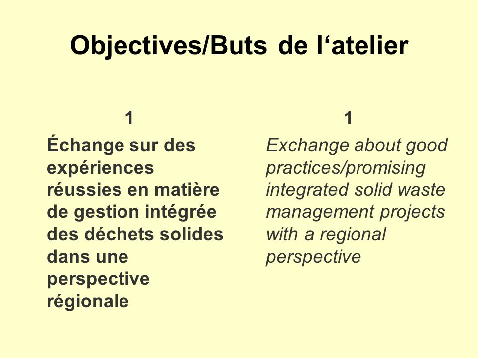 Objectives/Buts de latelier 1 Échange sur des expériences réussies en matière de gestion intégrée des déchets solides dans une perspective régionale 1 Exchange about good practices/promising integrated solid waste management projects with a regional perspective